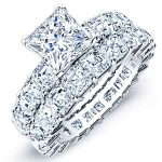 Willow – Princess With Sidestones Diamond Wedding Set
