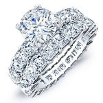 Willow – Round With Side Stones Diamond Wedding Set