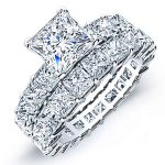 Kalina – Princess With Sidestones Diamond Wedding Set
