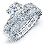 Kalina – Round With Sidestones Diamond Wedding Set