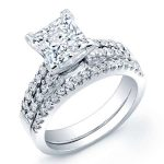Malva – Princess With Sidestones Diamond Wedding Set