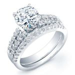 Malva – Round With Sidestones Diamond Wedding Set