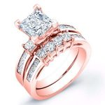 Hazel – Princess With Sidestones Diamond Wedding Set