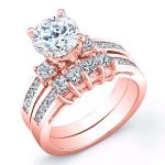 Hazel – Round With Sidestones Diamond Wedding Set