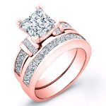 Ivy – Princess With Sidestones Diamond Wedding Set