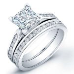 Petunia – Princess With Sidestones Diamond Wedding Set