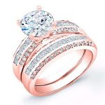 Crocus – Round With Sidestone Diamond Wedding Set