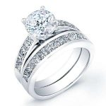 Ayana – Round With Sidestones Diamond Wedding Set