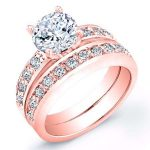 Eliza – Round With Sidestones Diamond Wedding Set