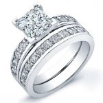 Eliza – Princess With Sidestones Diamond Wedding Set