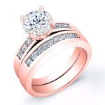 Jessamine – Round With Sidestones Diamond Wedding Set