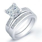 Jessamine – Princess With Sidestones Diamond Wedding Set