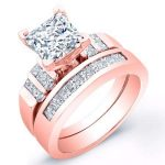 Carnation – Princess With Sidestones Diamond Wedding Set
