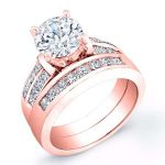 Heather – Round With Sidestones Diamond Wedding Set