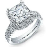 Aster – Princess Halo Diamond Wedding Set