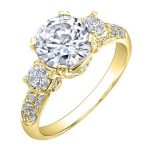 Daffodil – Round With Sidestones Diamond Ring