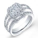 Freesia – Princess Halo Diamond Wedding Set