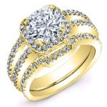 Freesia – Round Halo Diamond Wedding Set