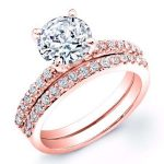 Dahlia – Round With Sidestones Diamond Wedding Set