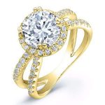 Waterlily – Round Halo Diamond Ring