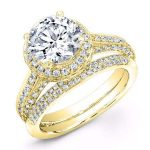 Buttercup – Round Halo Diamond Wedding Set