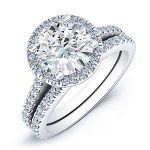 Mallow – Round Halo Diamond Wedding Set