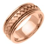 Mens 14k Pink Rose Gold Wedding Band Ring