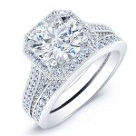Wallflower – Round Halo Diamond Wedding Set