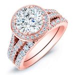 Tea Rose – Round Halo Diamond Wedding Set