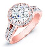 Tea Rose – Round Halo Diamond Ring