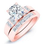 Carnation – Cushion With Sidestones Diamond Wedding Set