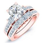 Hazel – Cushion With Sidestones Diamond Wedding Set