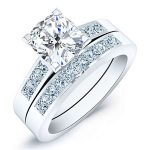 Jessamine – Cushion With Sidestones Diamond Wedding Set