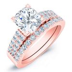 Malva – Cushion With Sidestones Diamond Wedding Set