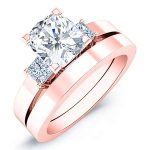 Bellflower – Cushion With Sidestones Diamond Wedding Set