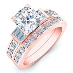 Daisy – Cushion With Sidestones Diamond Wedding Set