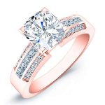 Crocus – Cushion With Sidestones Diamond Ring