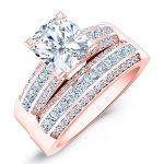 Crocus – Cushion With Sidestones Diamond Wedding Set