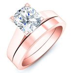 Rosemary – Cushion Solitaire Diamond Wedding Set