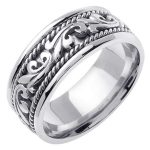 18k White Gold Wedding Band Ring