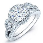 Lunaria – Round Halo Diamond Wedding Set
