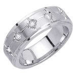 14k White Gold Diamond Wedding Band Ring