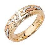 14k 3-tone Gold Diamond Wedding Band Ring