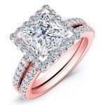 Mallow – Princess Halo Diamond Wedding Set