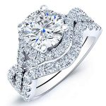 Dianella – Round Halo Diamond Wedding Set