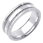 Mens 18k White Gold Wedding Band Ring
