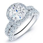Sweet Pea – Round Halo Diamond Wedding Set