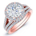 Silene – Round Halo Diamond Wedding Set