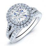 Viola – Round Halo Diamond Wedding Set