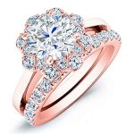 Coral Bells – Round Halo Diamond Wedding Set